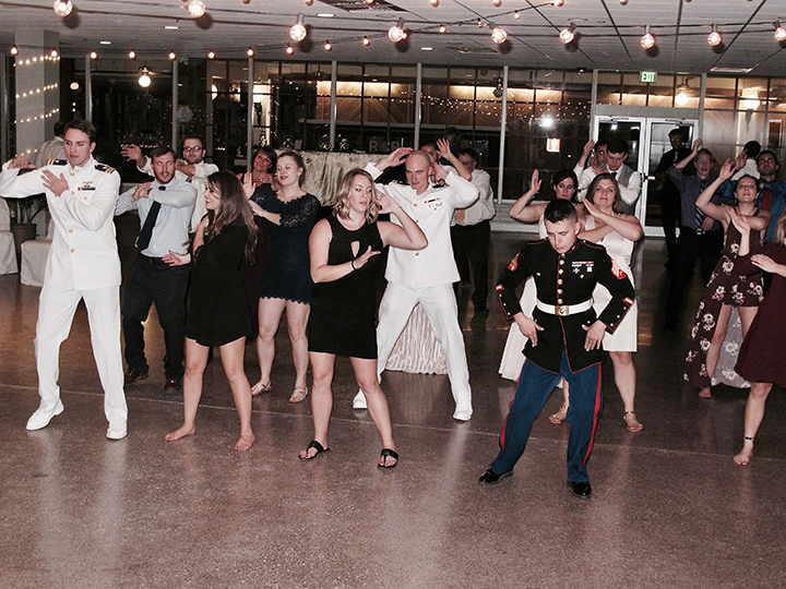 Wedding guests do the Wobble at the reception in Silver Springs