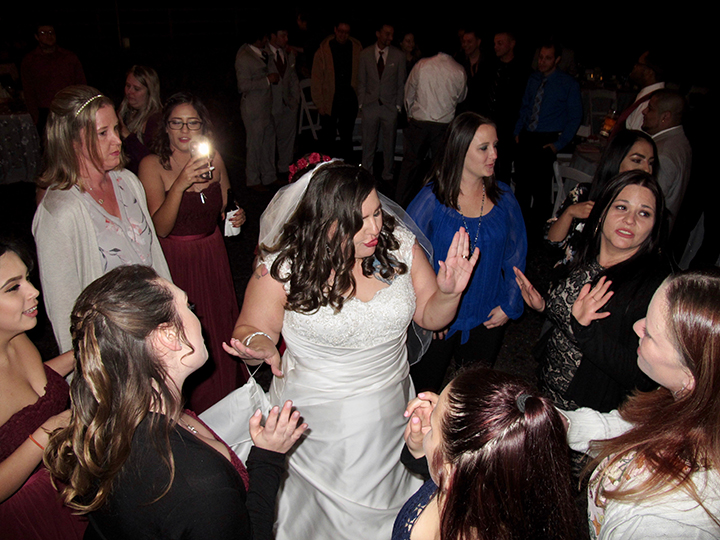 Wedding guests dance under the stars at a reception at The Lange Farm in Dade City.