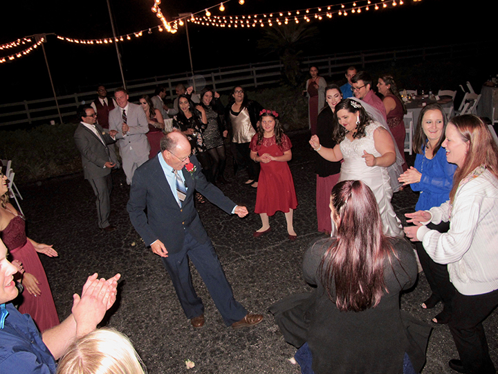 Guests having fun at an outdoor wedding reception with Orlando DJ Chuck Johnson