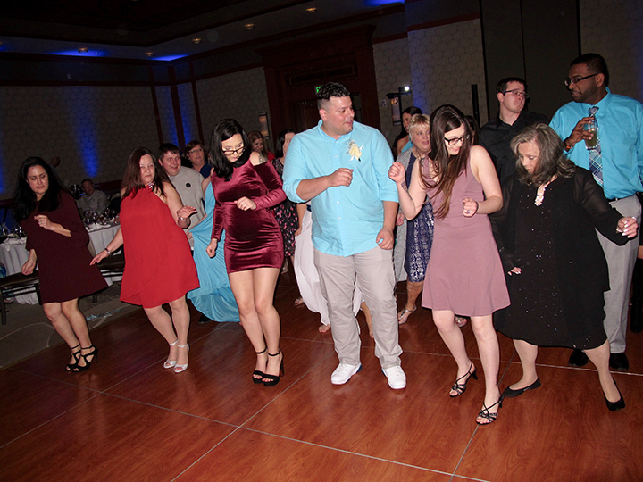 Wedding guests love dancing to the Wobble in the Magnolia Ballroom of Shades of Green