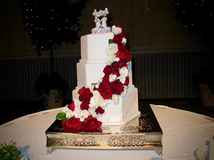 Wedding Reception cake at Walt Disney World's Grand Floridian Ballroom