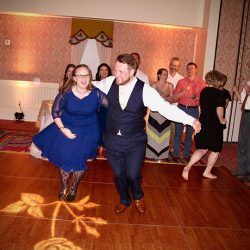 Having fun with the groom on the dance floor with music from Orlando Wedding DJs Chuck Johnson.