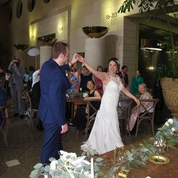 The Bride and Groom share their First Dance at their wedding reception with Orlando Wedding DJ Chuck Johnson.