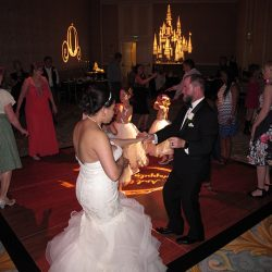 A wedding couple dancing on the dance floor to music from Orlando Wedding DJs Chuck Johnson.