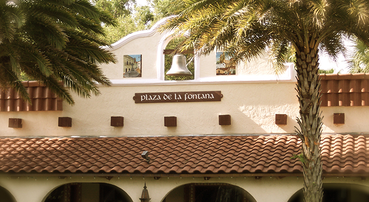 The exterior of the buildings at Plaza De La Fontana at the Mission Inn Resort.
