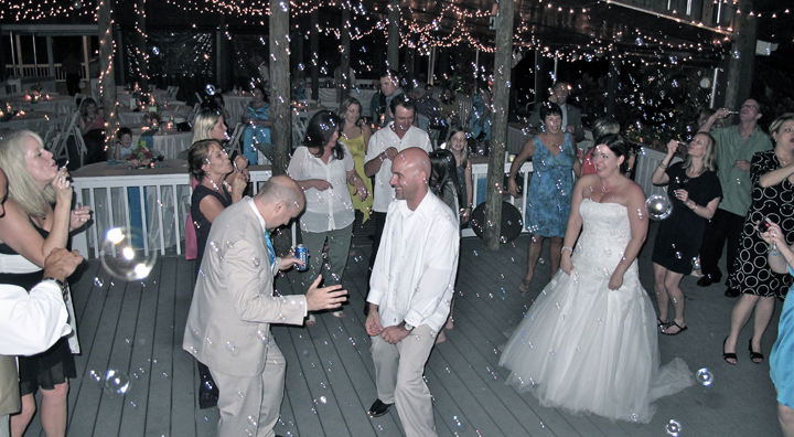 Wedding guests are having fun and dancing at the reception with Orlando DJ Chuck Johnson.