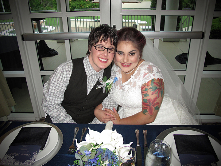 Same-Sex Wedding couple Erin and Leandra celebrate at the Lake Mary Events Center.