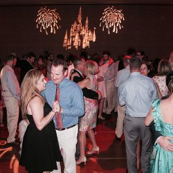 Wedding guests are having fun at this Walt Disney World reception and Orlando Wedding DJ Chuck Johnson.