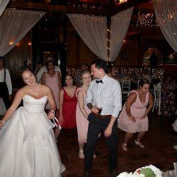 A bride having fun with Orlando Wedding DJ Chuck Johnson at the Estate on the Halifax.