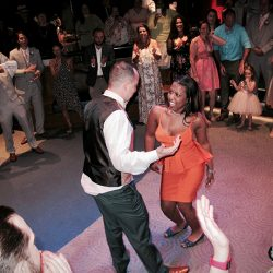 THis bride and groom are celebrating their reception with Orlando Wedding DJ Chuck Johnson at Walt Disney World.