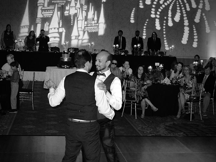 The couple's First Dance at Orlando DJ Chuck Johnson's Same-sex wedding at Walt Disney World.