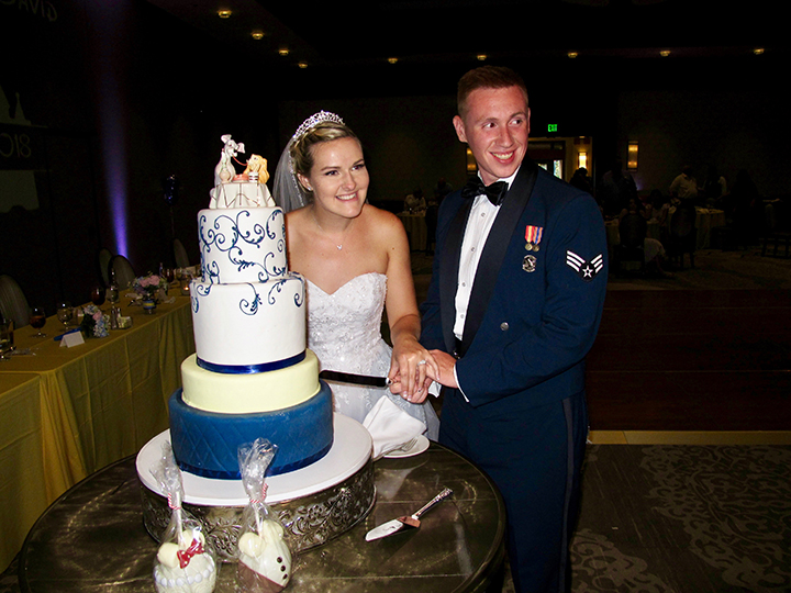 The bride and groom cut the wedding cake during their reception at Shades of Green.
