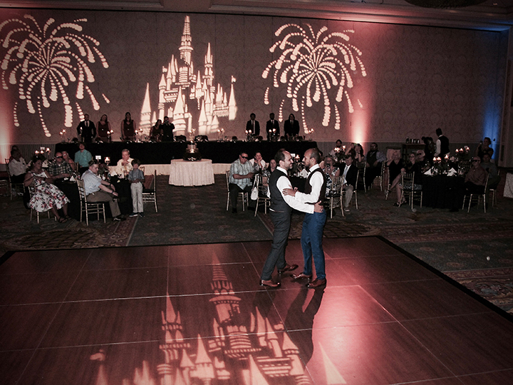The two grooms celebrate their first dance at their same-sex wedding in Orlando.
