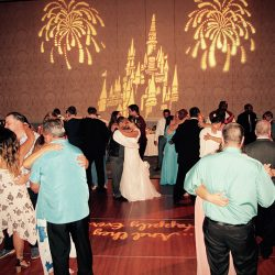 The Bride and Groom share a dance with their wedding guests and Orlando DJ Chuck Johnson.