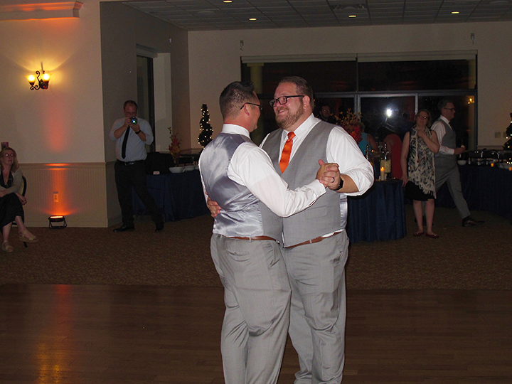 Wes and Derek celebrate their First Dance at their reception with Same-sex wedding DJ Chuck Johnson