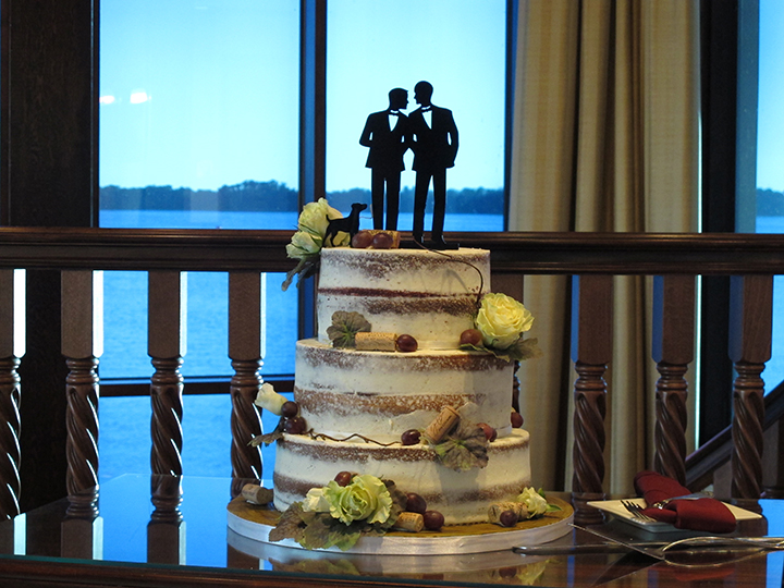 Same-sex wedding cake at the Tavares Pavilion on the Lake Reception Hall.