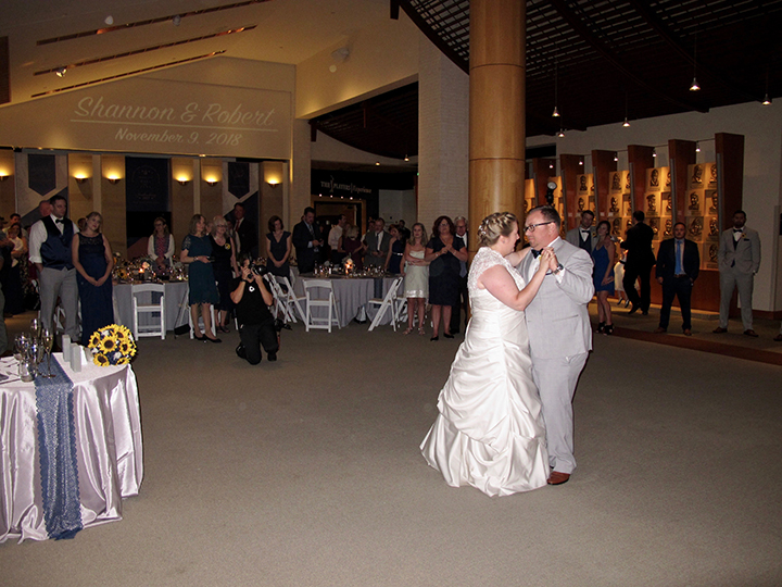 The wedding couple share their First Dance with St Augustine Wedding DJ Chuck Johnson
