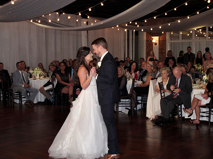 The Bride and Groom celebrate their First Dance at The White Room in St Augustine.