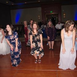 wedding guests dance and celebrate with Orlando DJ Chuck Johnson at Shades of Green.