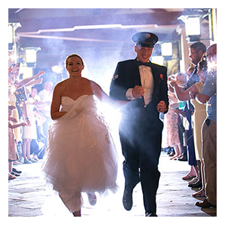 Orlando Wedding DJs help this couple on a grand exit from their wedding reception.