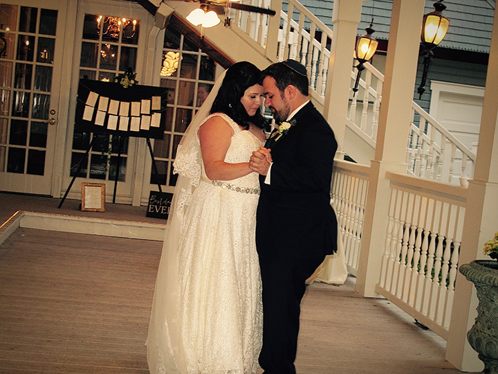 a Wedding couple's First Dance at the Courtyard at Lake Lucerne with Orlando DJ Chuck Johnson