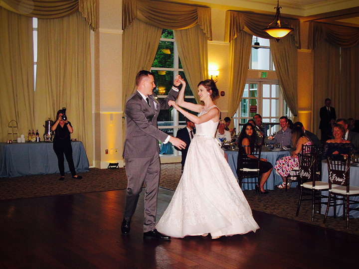 The Bride and Groom take to the dance floor for their first dance with Orlando DJ Chuck Johnson.
