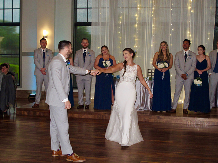 The bride and groom during their First Dance at their wedding with Orlando DJ Chuck Johnson.