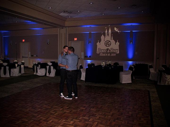 This Orlando same-sex wedding couple celebrate their last dance with DJ Chuck Johnson.