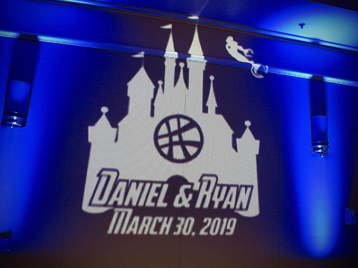Orlando Wedding DJ Chuck Johnson with a Your Name in Lights monogram projection sample.