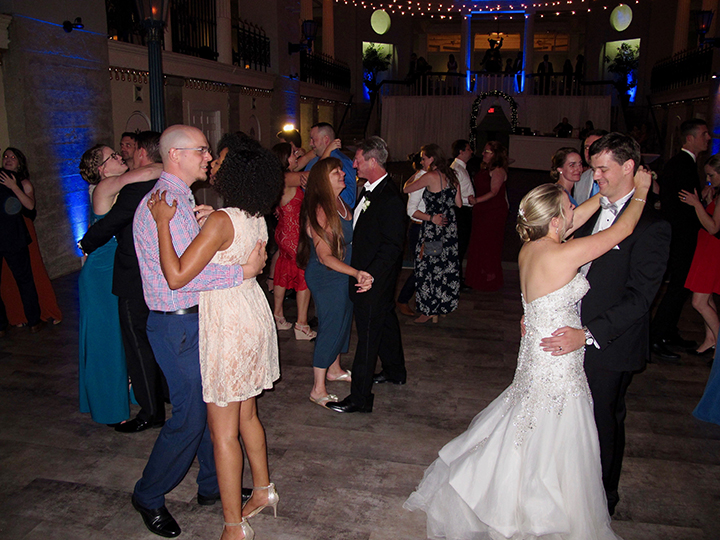 St Augustine DJ Chuck Johnson plays music for the Bride and Groom and their wedding guests.