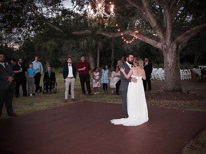 When you have your reception at the Cattleya Chapel Weddings Venue in Vero Beach, you can dance under the stars.