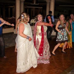The bride takes to the dance floor with family and friends and Orlando Wedding DJ Chuck Johnson.