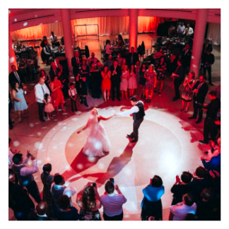 orlando dj chuck johnson celebrates a first dance at the american adventure wedding venue in epcot